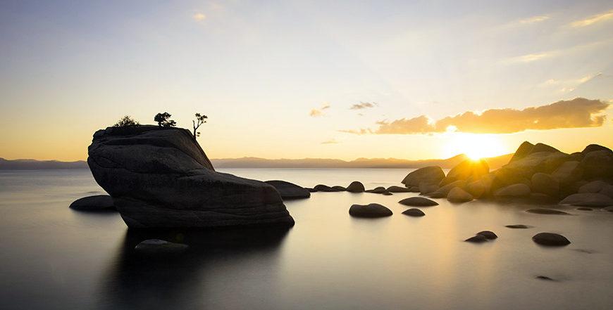 Bonsai Rock Sunset Still Water
