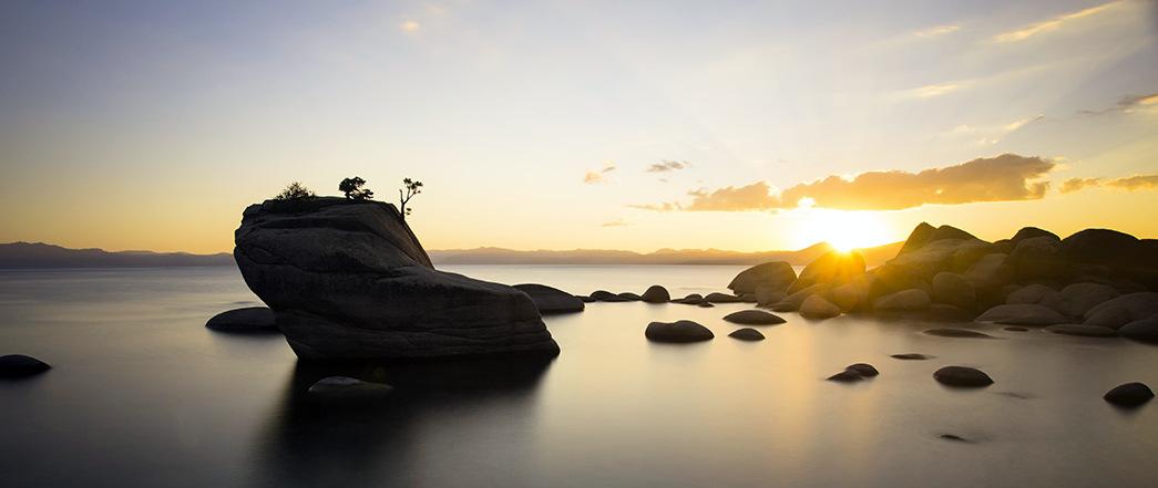 Bonsai Rock Sunset Still Water - North Tahoe