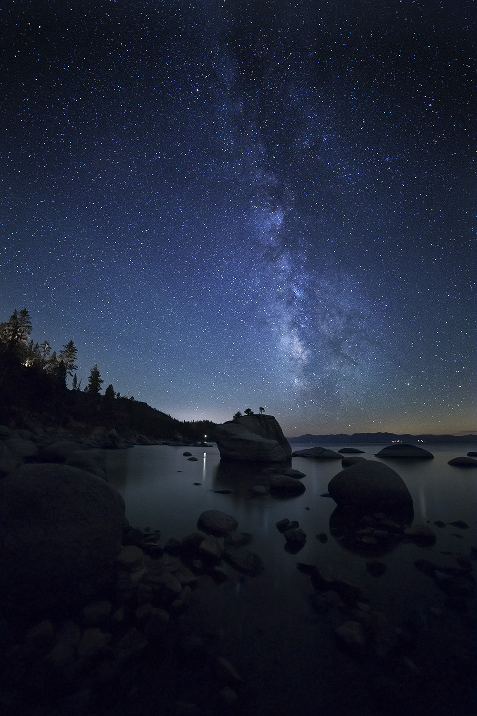 Milky Way over Bonsai Rock in Lake Tahoe